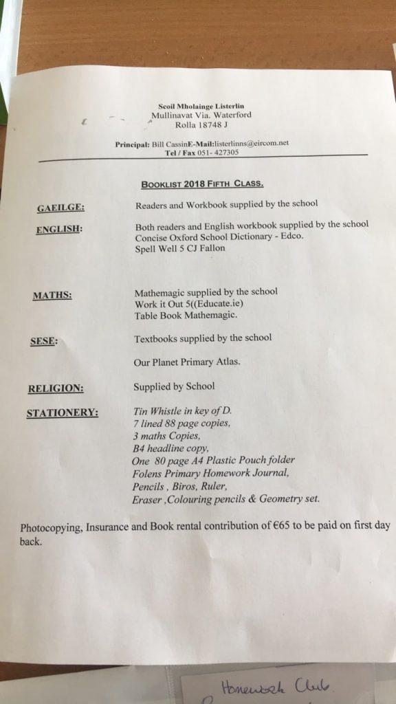 5th Class Book List 2018 - 2019