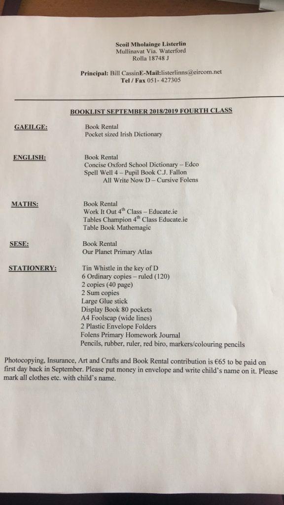 4th Class Book List 2018 - 2019