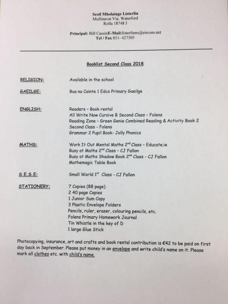2nd Class Book List 2018 - 2019